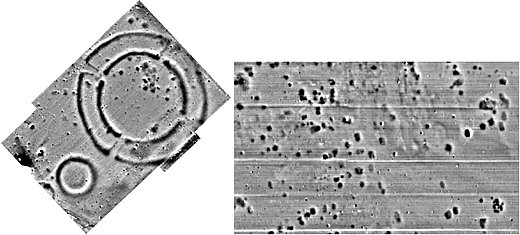Left: The magnetogram shows clearly visible a circular ring ditch (Kreisgrabenanlage) and a smaller circular structure that might seem clearly interpretable at first sight. Right: The visible structures are less familiar and hard to interpret. (©figures with courtesy Archeo Prospections®)